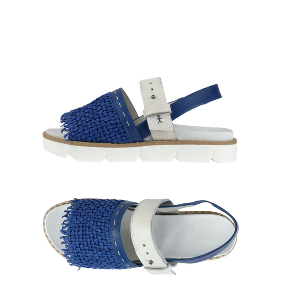 Online Austaralia Riada Concept Sydney Woollahra Luxury Fashion Boutique Henry Beguelin Woven Blue and White Platform Sandals