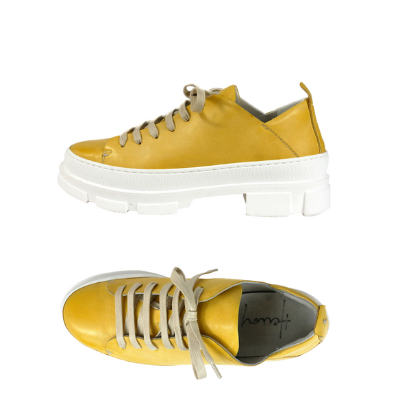 Online Austaralia Riada Concept Sydney Woollahra Luxury Fashion Boutique Henry Beguelin Yellow Lace Up Sneaker