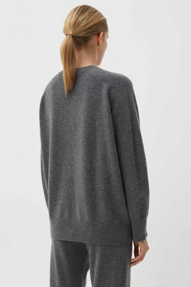 Chinti and Parker Grey Cashmere Slouchy Sweater