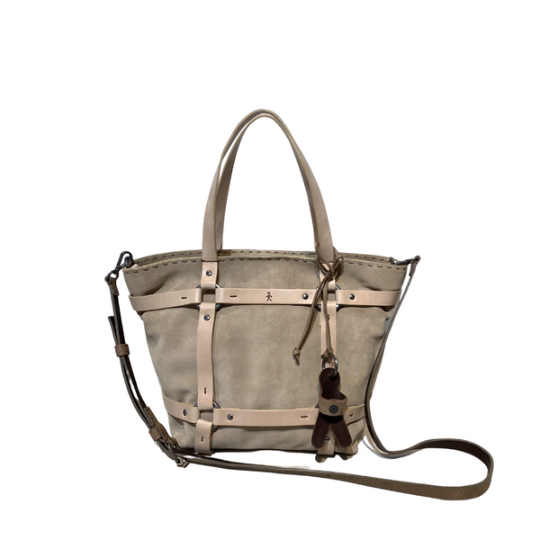 Online Austaralia Riada Concept Sydney Woollahra Luxury Fashion Boutique Henry Beguelin Medium Margherita Briglie Suede and Leather Handbag in Beige