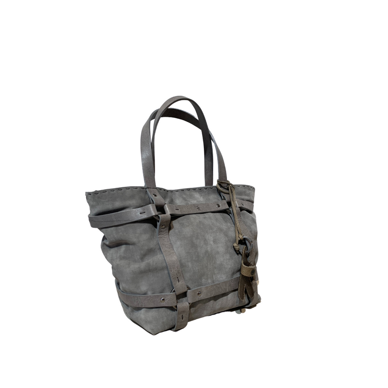 Online Austaralia Riada Concept Sydney Woollahra Luxury Fashion Boutique Henry Beguelin Medium Margherita Briglie Suede and Leather Handbag in Frost Grey