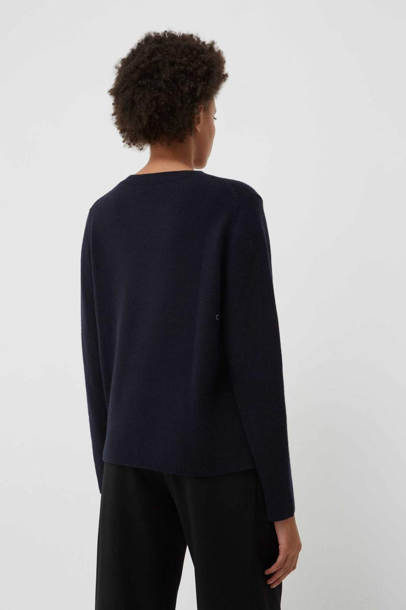 Chinti and Parker Navy Cashmere Boxy Sweater