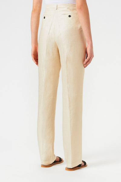 Massimo Alba Suro High-waisted linen satin trousers Natural