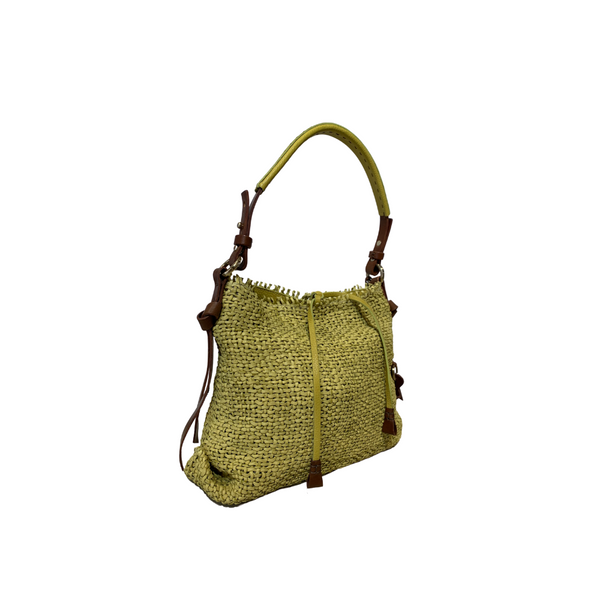 Online Austaralia Riada Concept Sydney Woollahra Luxury Fashion Boutique Henry Beguelin Small Minerva Woven Shoulder bag in Yellow