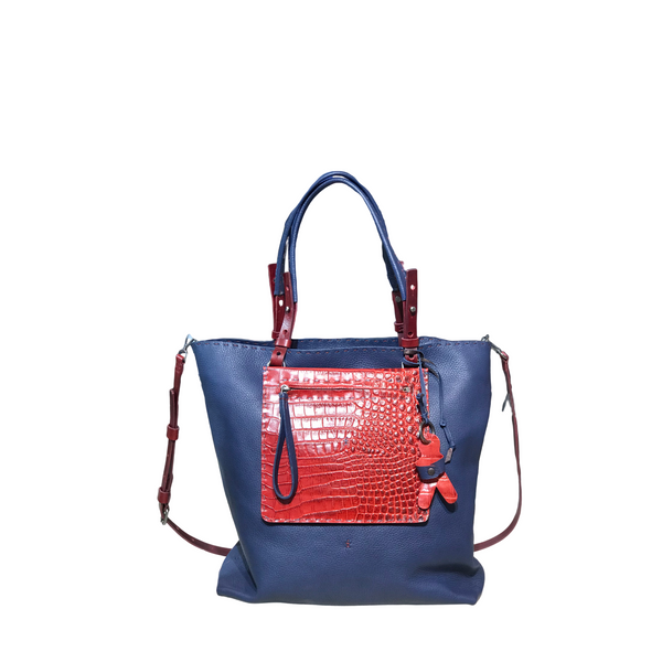 Henry Beguelin BD4403 Amica Zip Navy and Red Shopping Tote