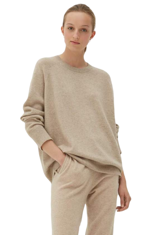 Chinti and Parker Oatmeal Cashmere Slouchy Sweater