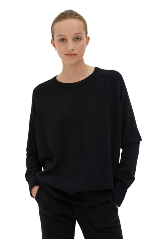 Chinti and Parker Black Cashmere Slouchy Sweater