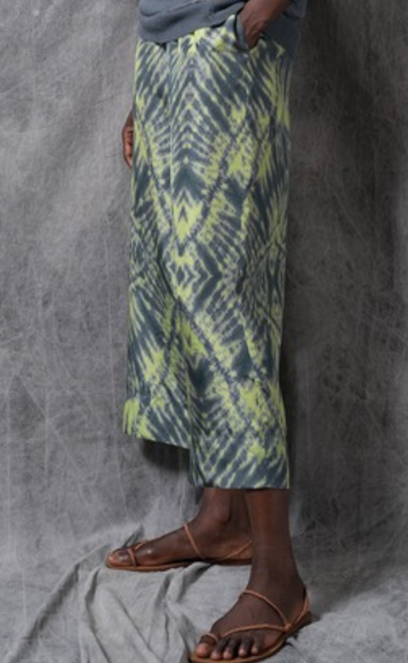 Metamorfosi Green Silk Japanese Shibori Crop Trousers