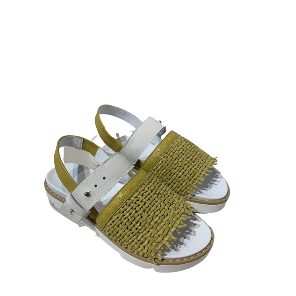 Online Austaralia Riada Concept Sydney Woollahra Luxury Fashion Boutique Henry Beguelin Woven Yellow and White Platform Sandals