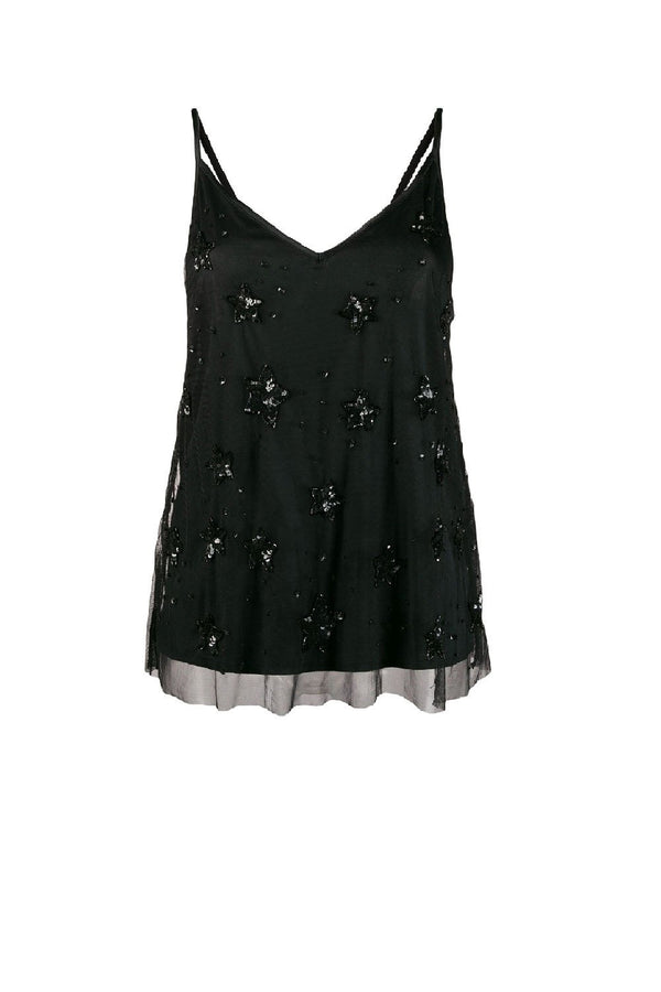 P.A.R.O.S.H GALAX STAR BLACK CAMI Black cami with star embroidery Parosh online Australia Riada Concept Luxury fashion boutique