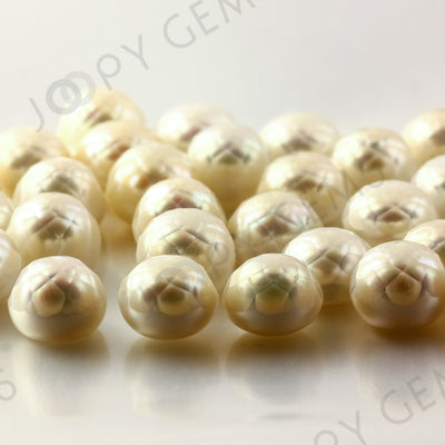 Joopy Gems White Cultured Freshwater Pearls Half-Drilled Button 10-10.5mm ROSE CUT