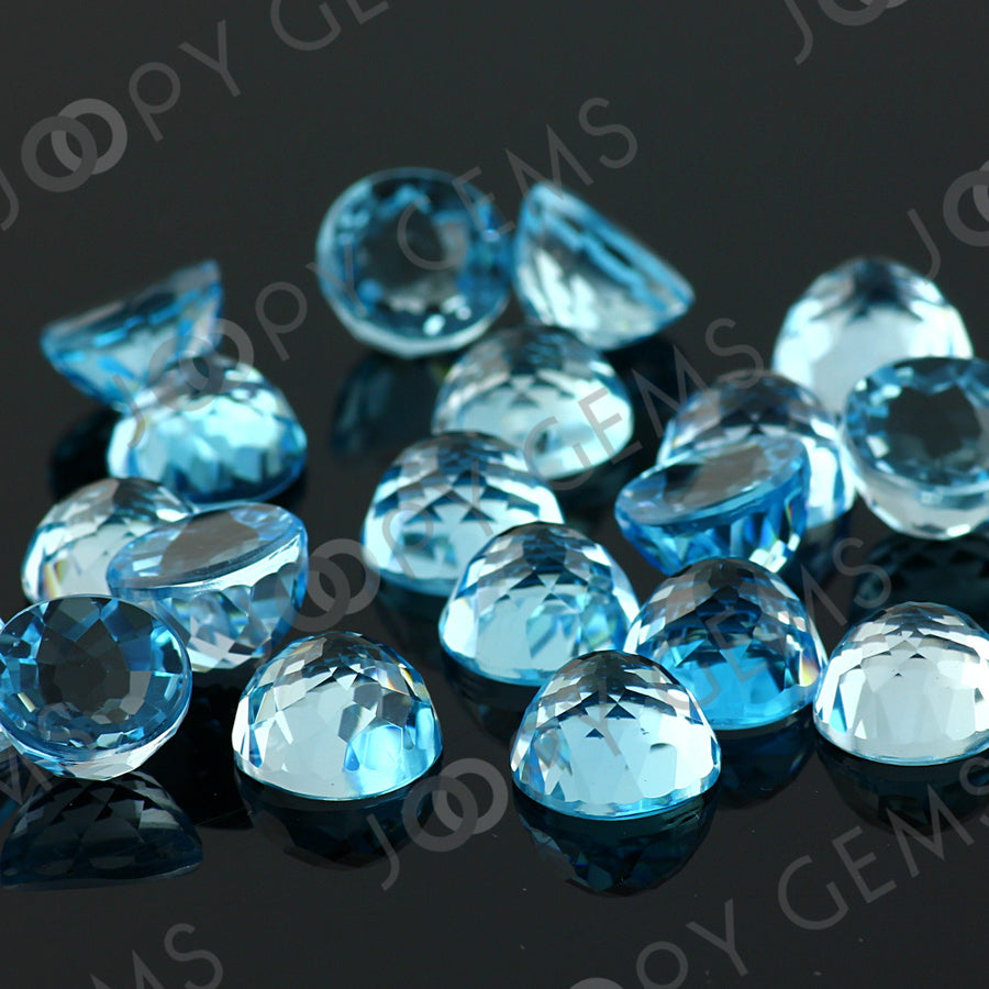Joopy Gems Sky Blue Topaz Rose Cut Cabochon 10mm Round