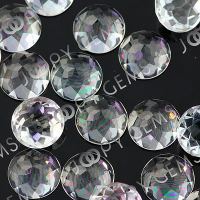 Joopy Gems White Topaz Rose Cut Cabochon 10mm Round