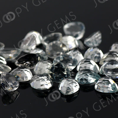 Joopy Gems White Topaz Rose Cut Pear Cabochon 8x10mm FLAT BACK