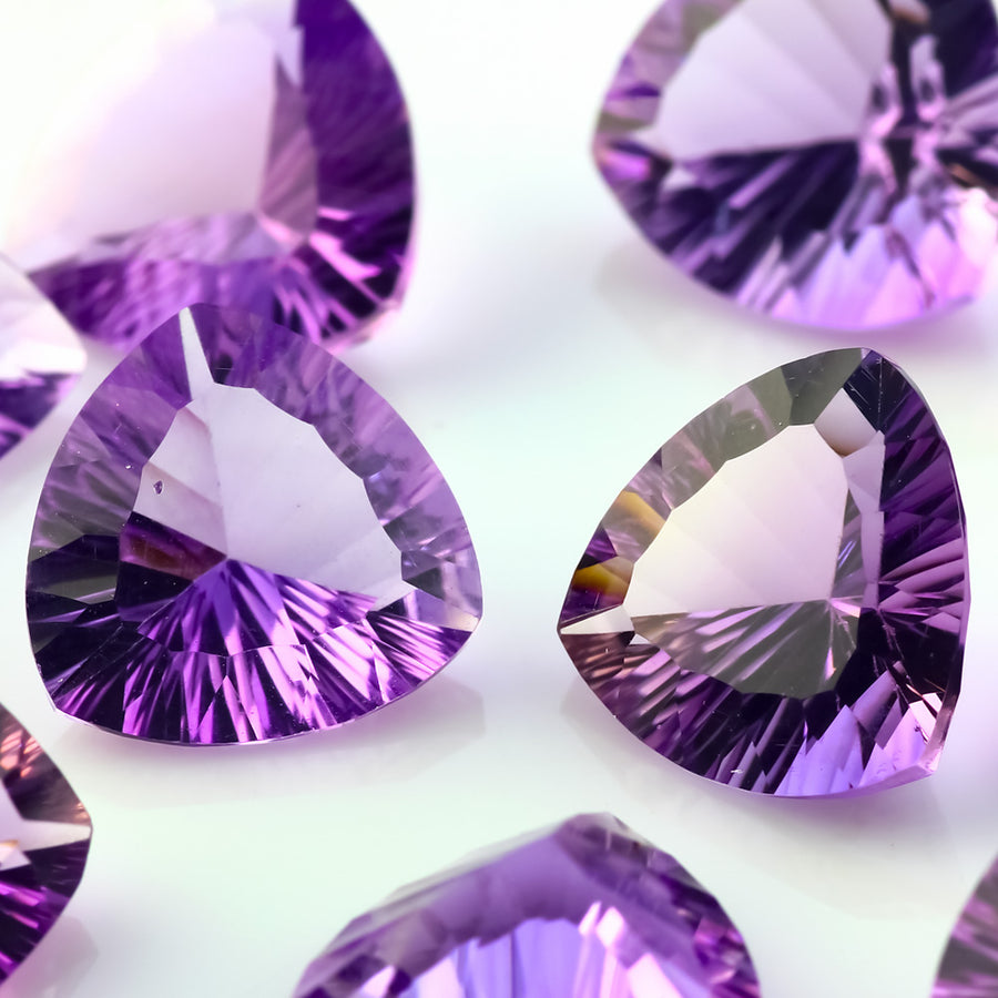 Joopy Gems Amethyst (Brazilian) Concave Cut Gemstone 12mm Trillion