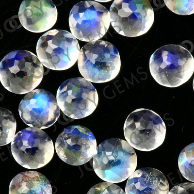 Joopy Gems Rainbow Moonstone Rose Cut Cabochon 2mm Round - AAA grade