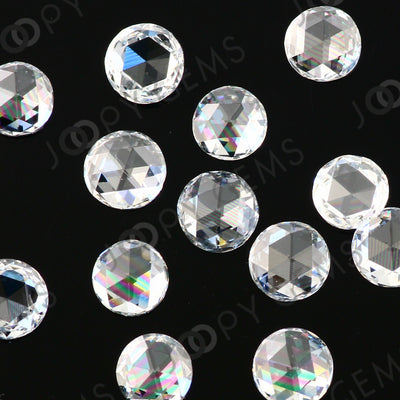 Joopy Gems White Diamond Rose Cut Cabochon 3mm Round