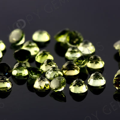 Yellow-Green Tourmaline Rose Cut Cabochon 3mm Round