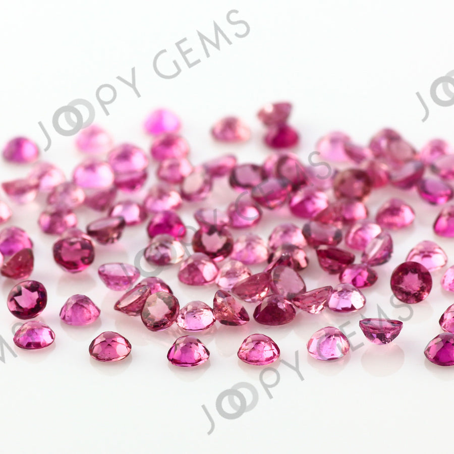 Joopy Gems Pink Tourmaline Rose Cut Cabochon 3mm Round