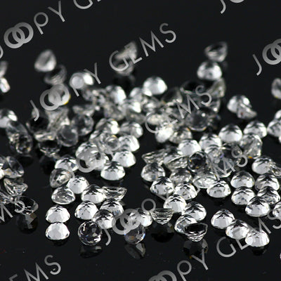 Joopy Gems White Topaz Rose Cut Cabochon 3mm Round