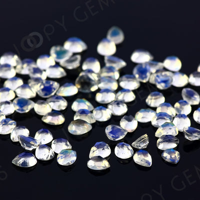 Joopy Gems Rainbow Moonstone Rose Cut Cabochon 3x4mm Pear - AA grade