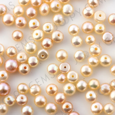 Joopy Gems Pink Cultured Freshwater Pearls Half-Drilled Button 4-5mm