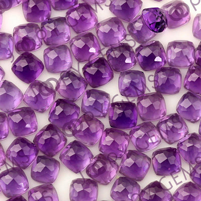 Joopy Gems Amethyst (African) Rose Cut Cabochon 4mm Square Cushion