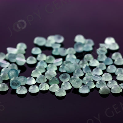 Joopy Gems Aquamarine (milky) Rose Cut Cabochon 4mm Round