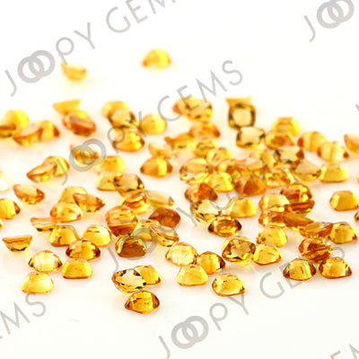 Joopy Gems Citrine Rose Cut Cabochon 4mm Square Cushion