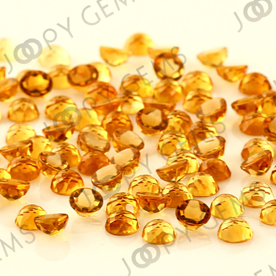 Joopy Gems Citrine Rose Cut Cabochon 4mm Round
