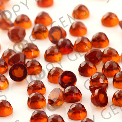 Joopy Gems Hessonite Garnet Rose Cut Cabochon 4mm Round