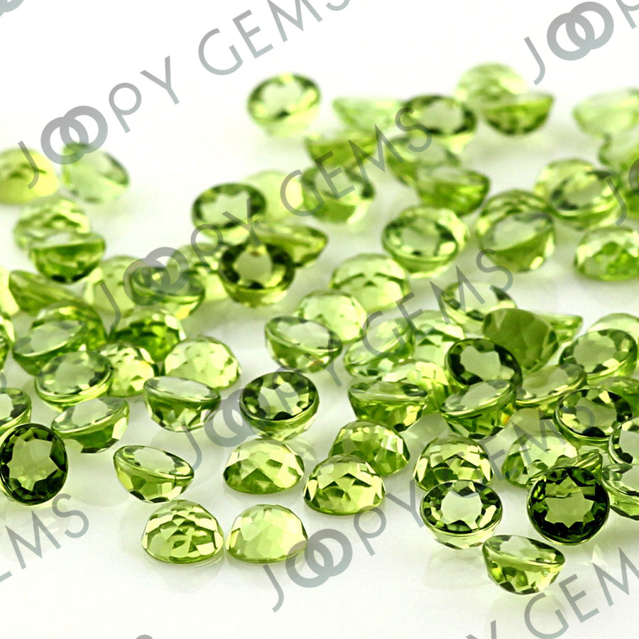 Joopy Gems Peridot Rose Cut Cabochon 4mm Round