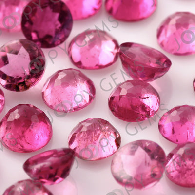 Joopy Gems Pink Tourmaline Rose Cut Cabochon 4mm Round