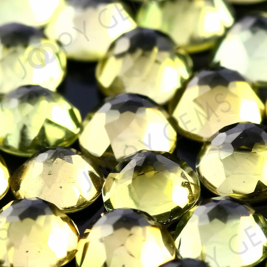 Joopy Gems Yellow-Green Tourmaline Rose Cut Cabochon 4mm Round