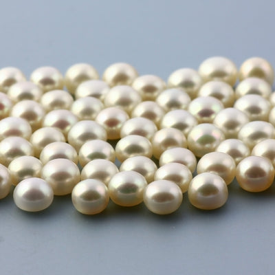 Joopy Gems White Cultured Freshwater Pearls Half-Drilled Button 5.5-6mm