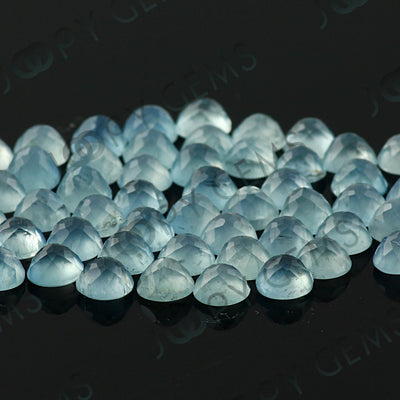 Joopy Gems Aquamarine (milky) Rose Cut Cabochon 5mm Round