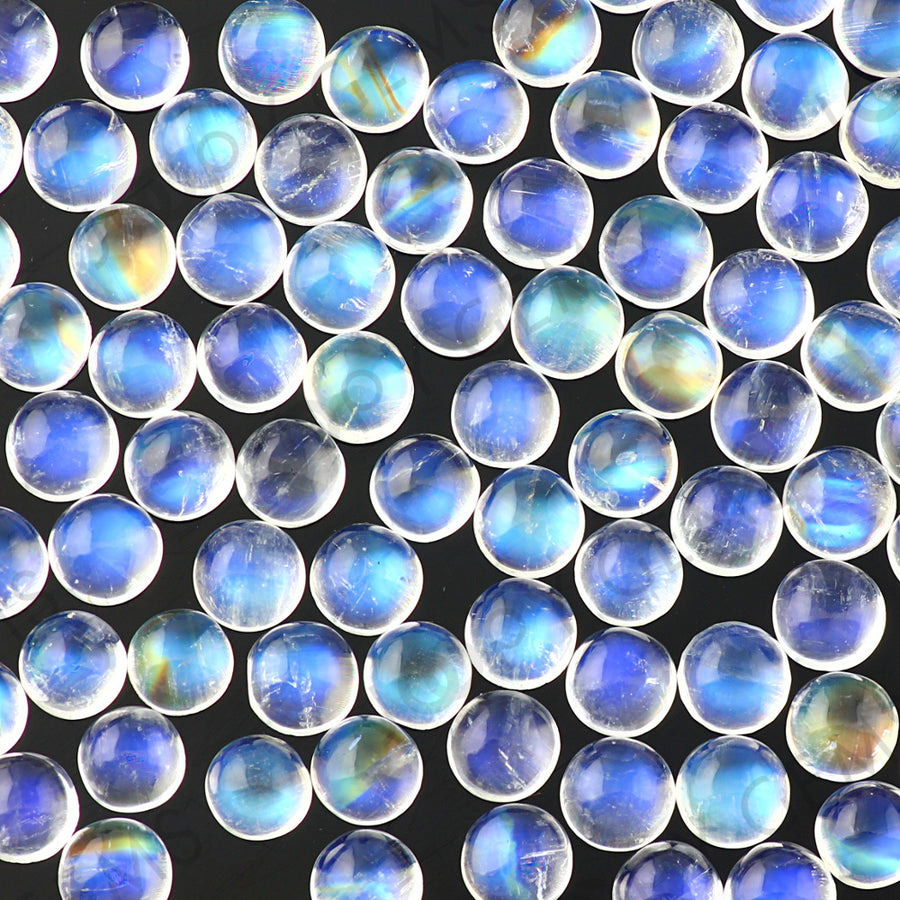 Joopy Gems Rainbow Moonstone Cabochon 5mm Round - A grade