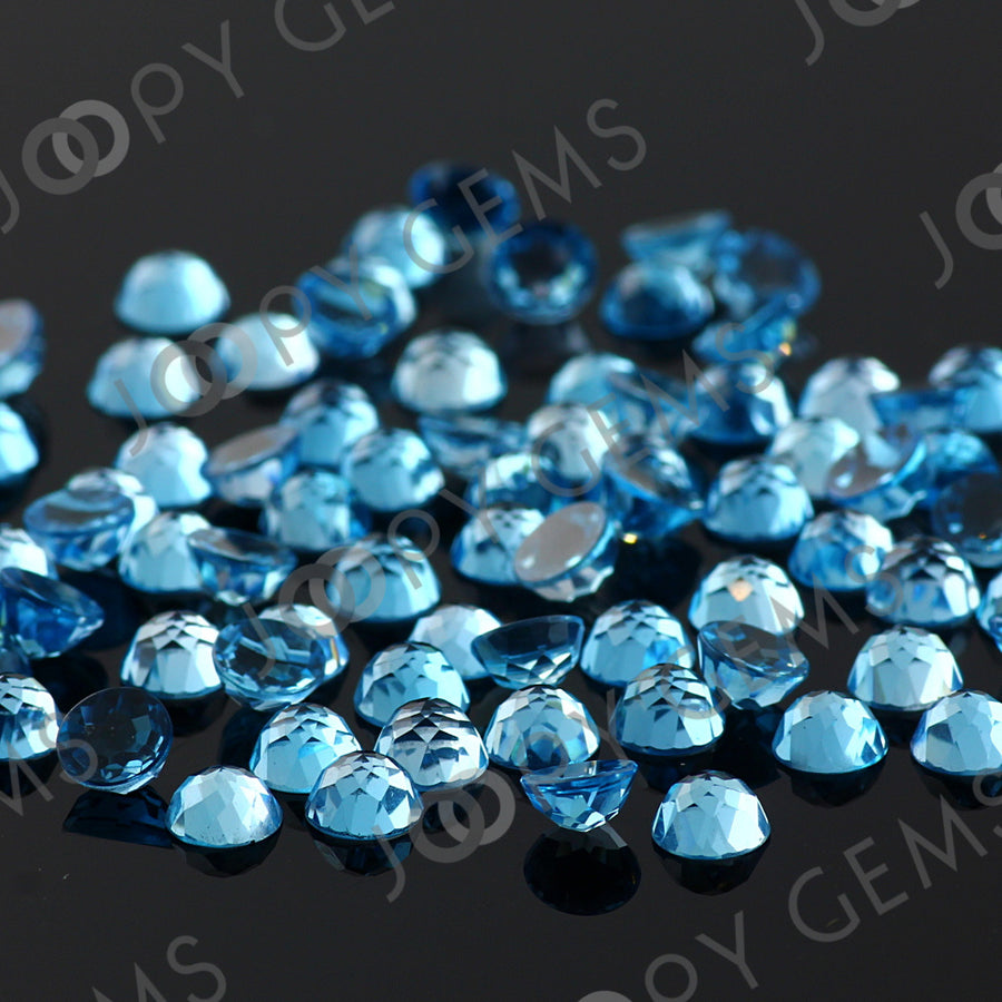 Joopy Gems Swiss Blue Topaz Rose Cut Cabochon 5mm Round