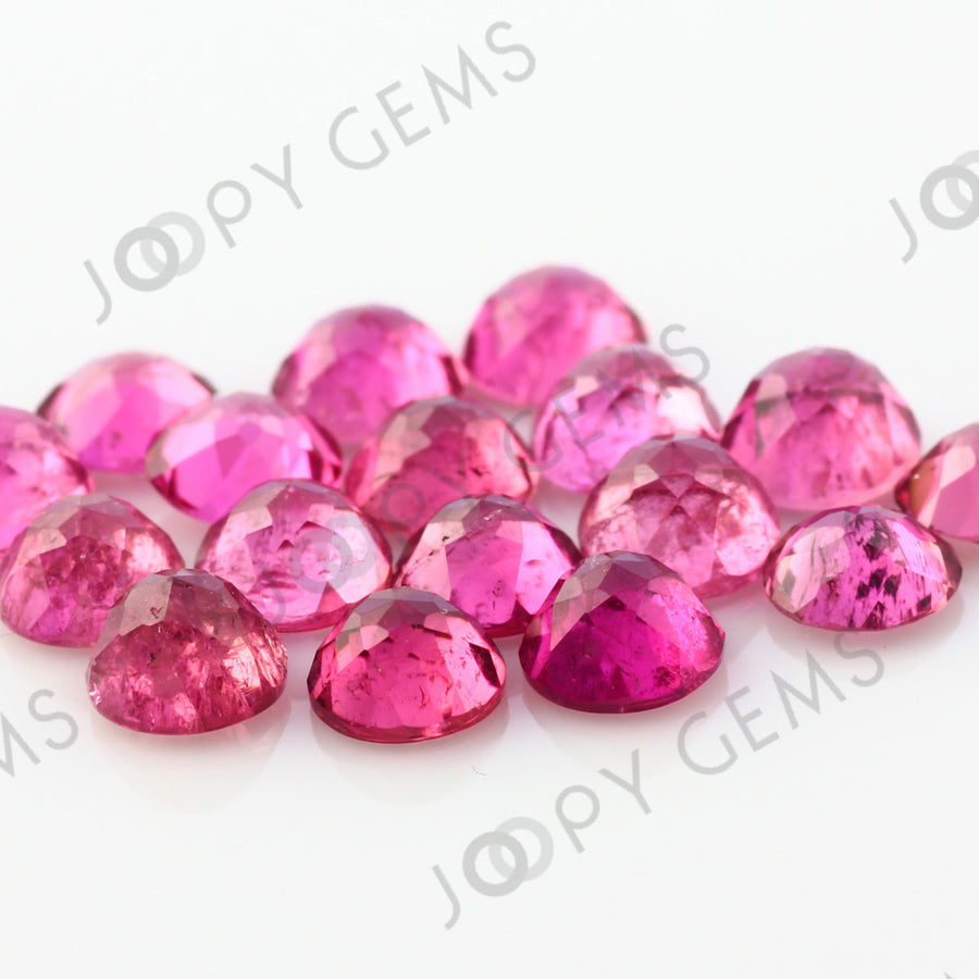 Joopy Gems Pink Tourmaline Rose Cut Cabochon 5mm Round