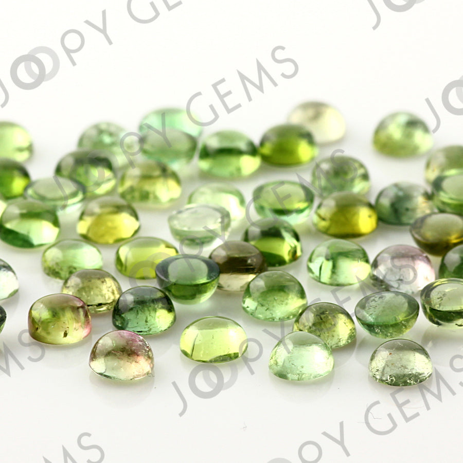 Joopy Gems Light Green Tourmaline Cabochon 5mm Round