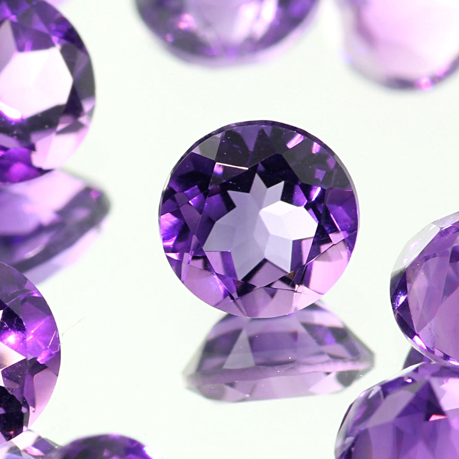 Joopy Gems Amethyst (Brazilian) Brilliant Cut Gemstone 5mm Round