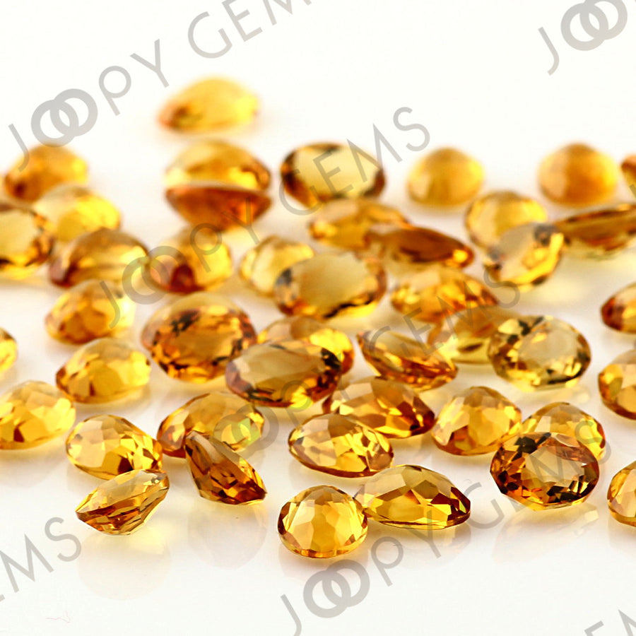 SALE 526 Citrine Rose Cut Cabochon 7x5mm Oval - per lot of 5 stones
