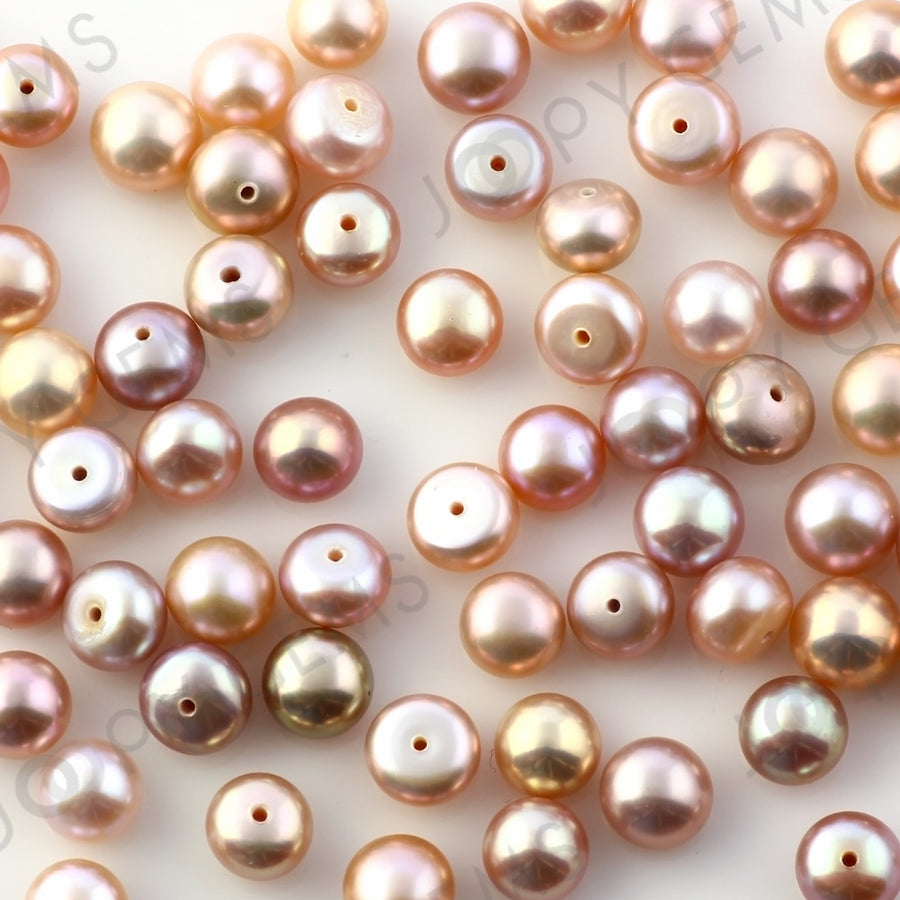 Joopy Gems Purple Freshwater Cultured Pearls Half-Drilled Button 6-6.5mm