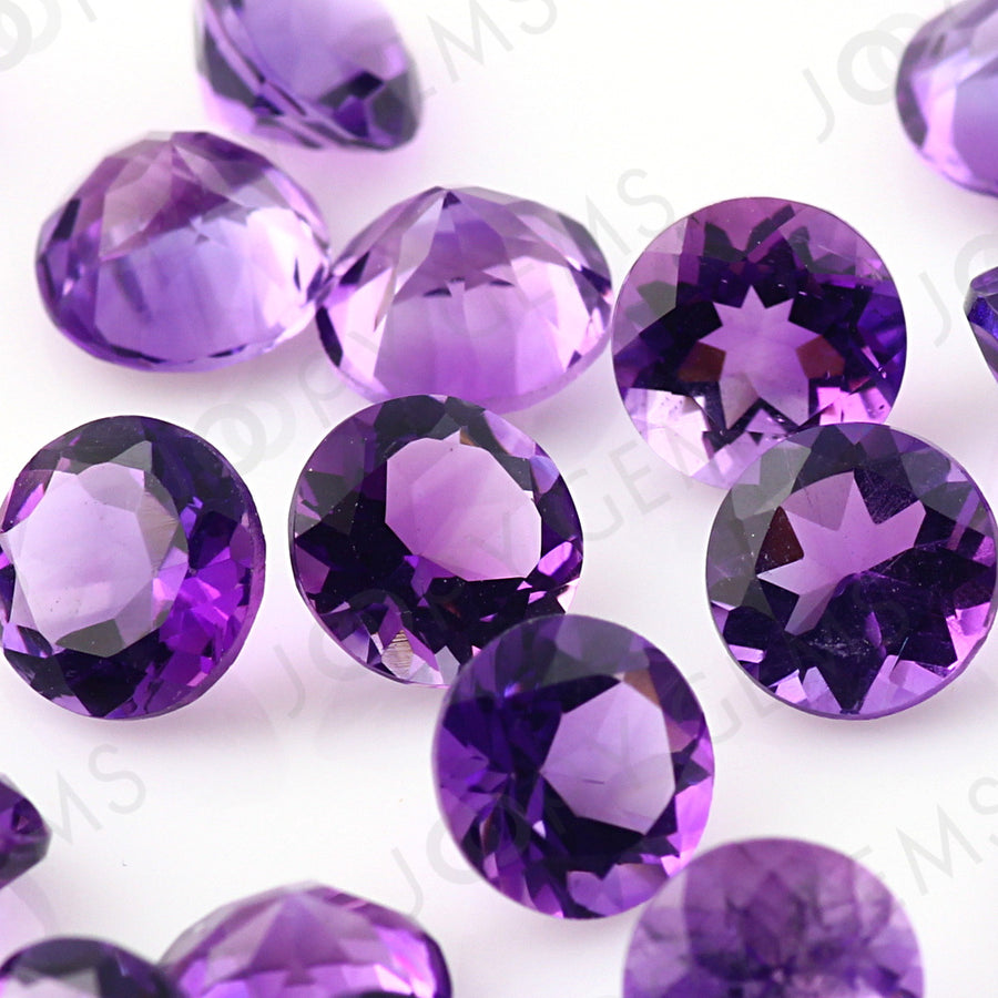Joopy Gems Amethyst (Brazilian) Brilliant Cut Gemstone 6mm Round