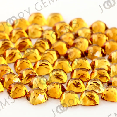Joopy Gems Citrine Rose Cut Cabochon 6mm Square Cushion
