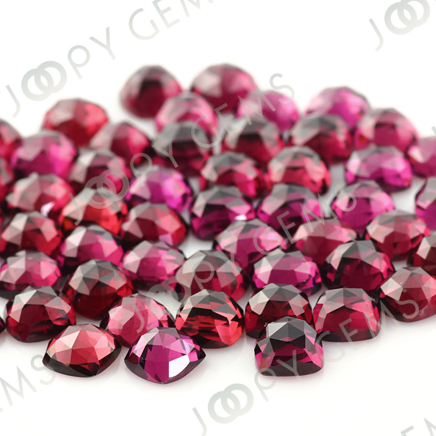 Joopy Gems Rhodolite Garnet Rose Cut Cabochon 6mm Square Cushion