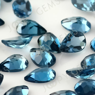 Joopy Gems London Blue Topaz Rose Cut Pear Cabochon 6x4mm