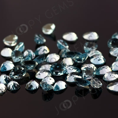 Joopy Gems Sky Blue Topaz Rose Cut Pear Cabochon 8x6mm