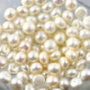 Joopy Gems White Cultured Freshwater Pearls Half-Drilled Button 7.5-8mm