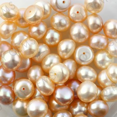 Joopy Gems Pink Cultured Freshwater Pearls Half-Drilled Button 7.5-8mm